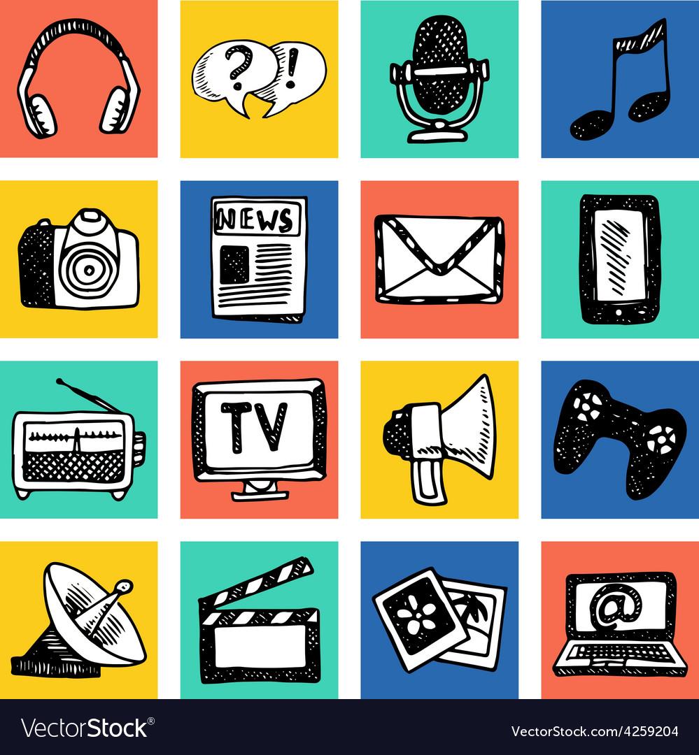 Media icons set vector | Price: 1 Credit (USD $1)