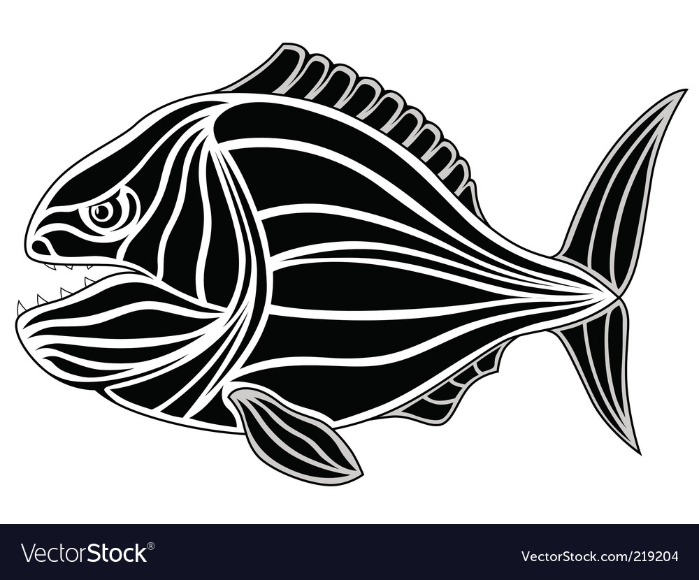 Piranha tattoo vector | Price: 1 Credit (USD $1)