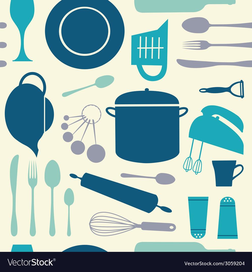 Seamless kitchen pattern vector | Price: 1 Credit (USD $1)