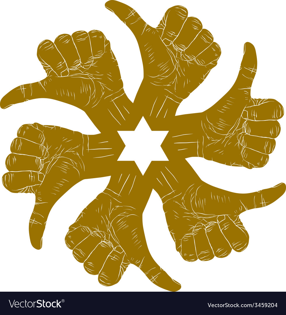 Six thumb up hand signs in round abstract symbol vector | Price: 1 Credit (USD $1)