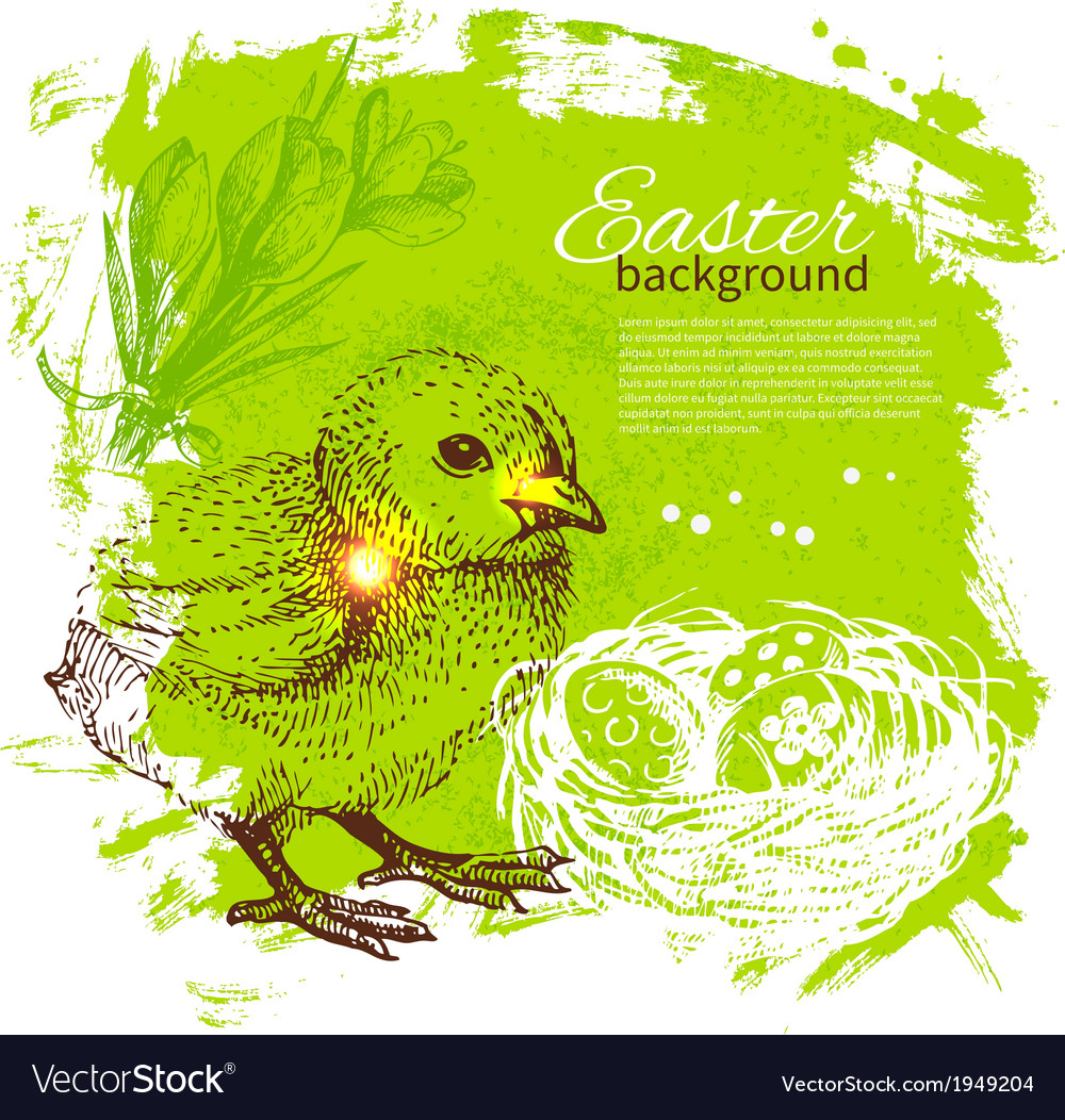Vintage easter background with hand drawn sketch vector   Price: 1 Credit (USD $1)