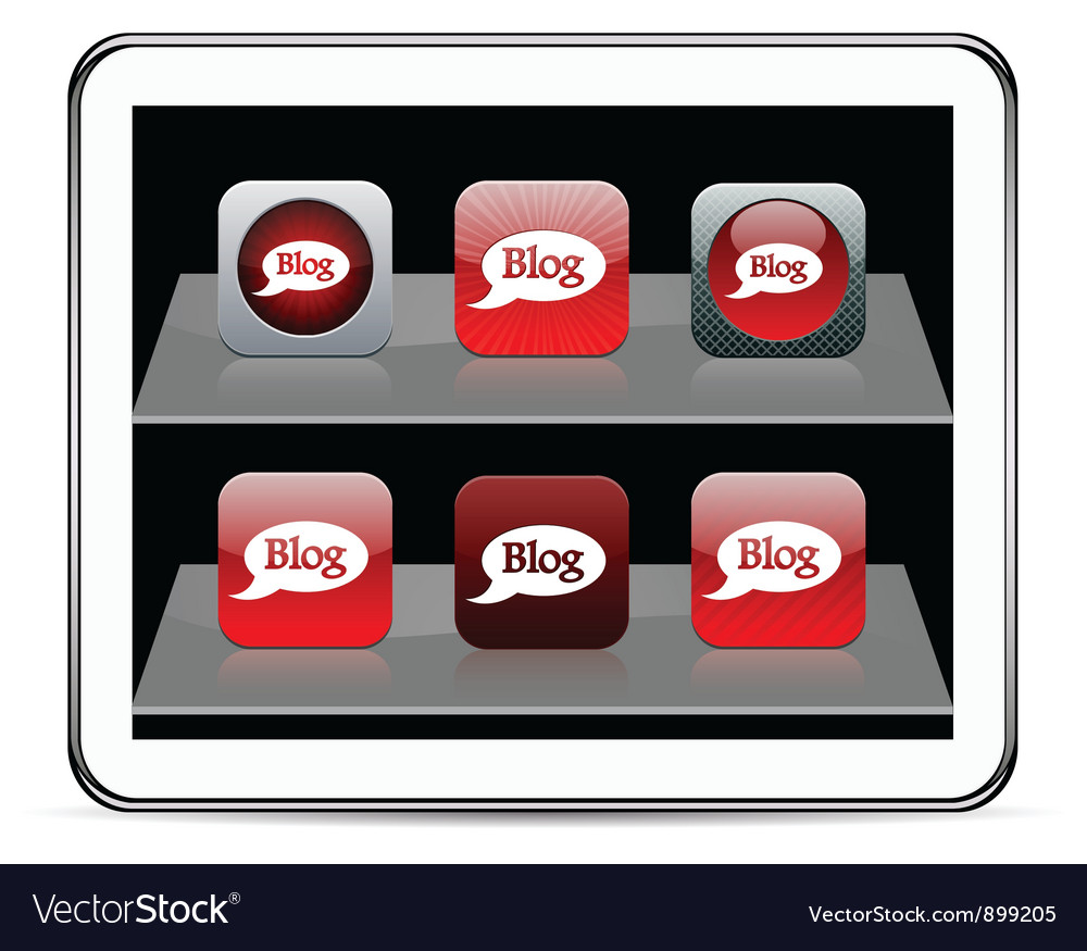 Blog red app icons vector | Price: 1 Credit (USD $1)