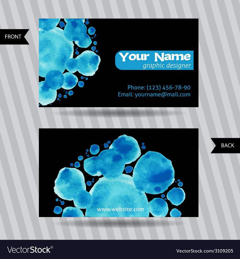 Business cards with round watercolor blots vector | Price: 1 Credit (USD $1)