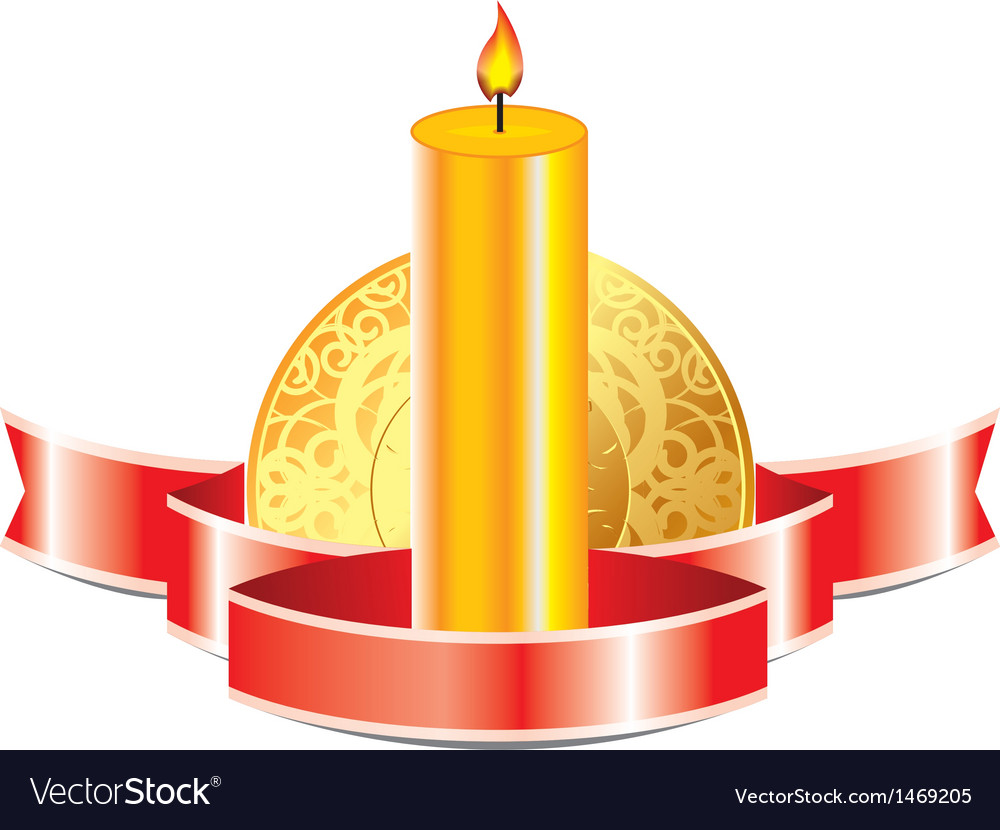 Candle with ribbon vector | Price: 1 Credit (USD $1)