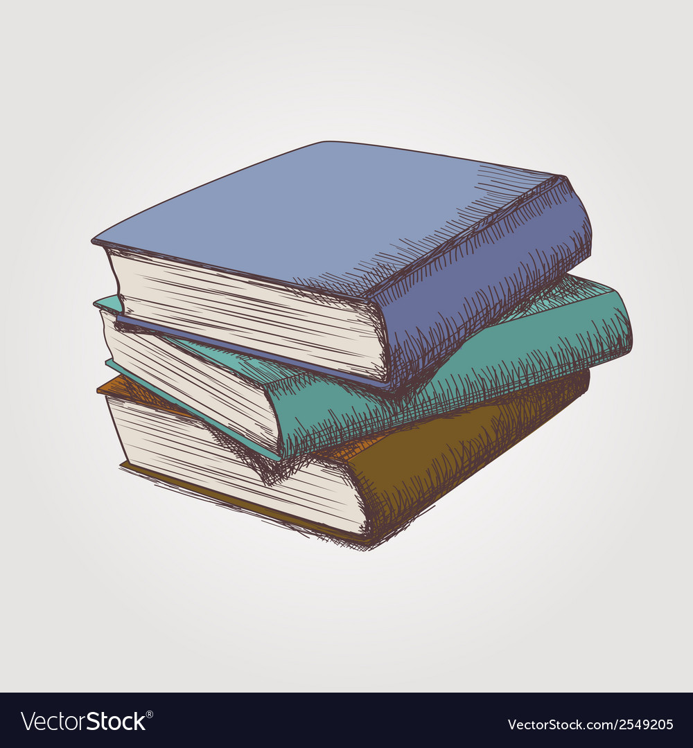 Colorful sketch of books stack vector | Price: 1 Credit (USD $1)