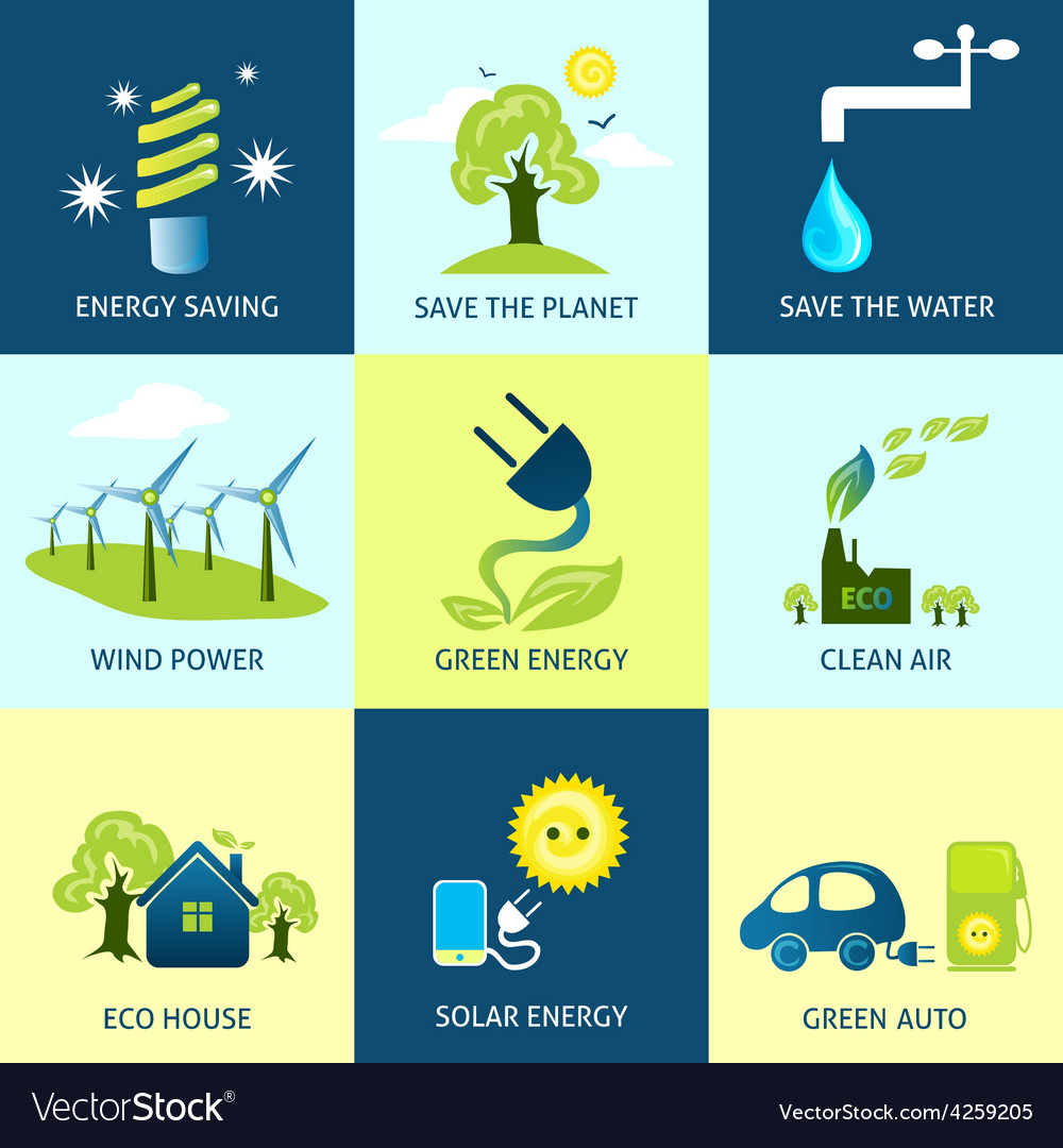 Ecology concepts set vector   Price: 1 Credit (USD $1)