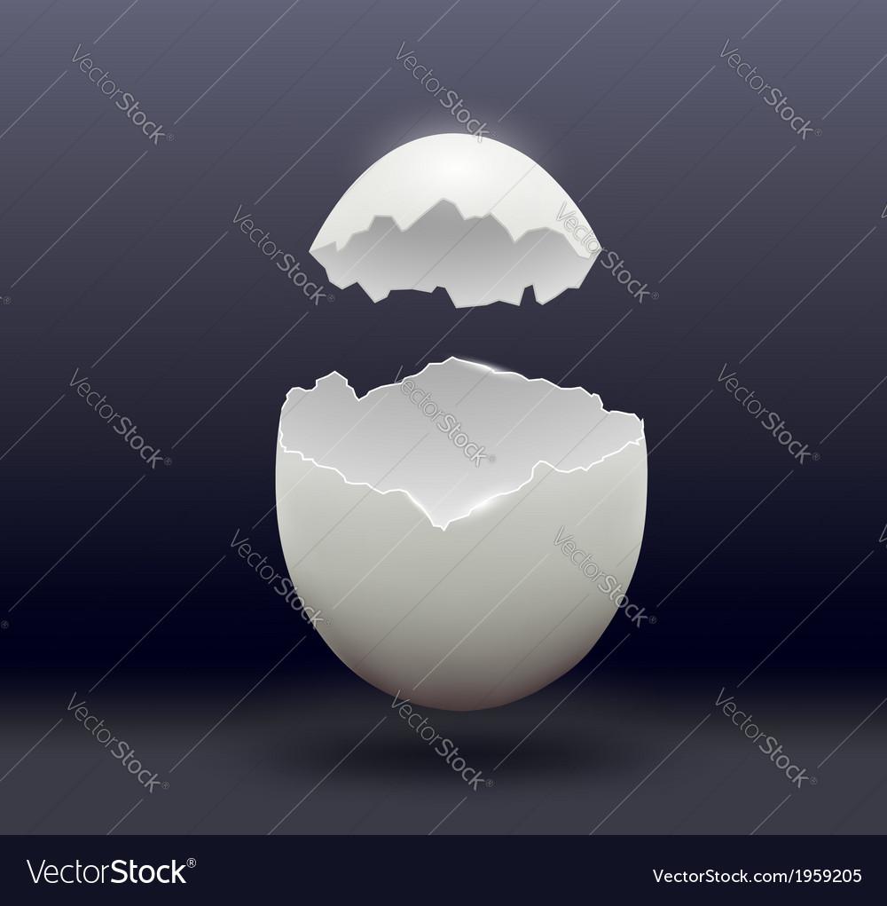 Egg split in half on a dark background vector | Price: 1 Credit (USD $1)