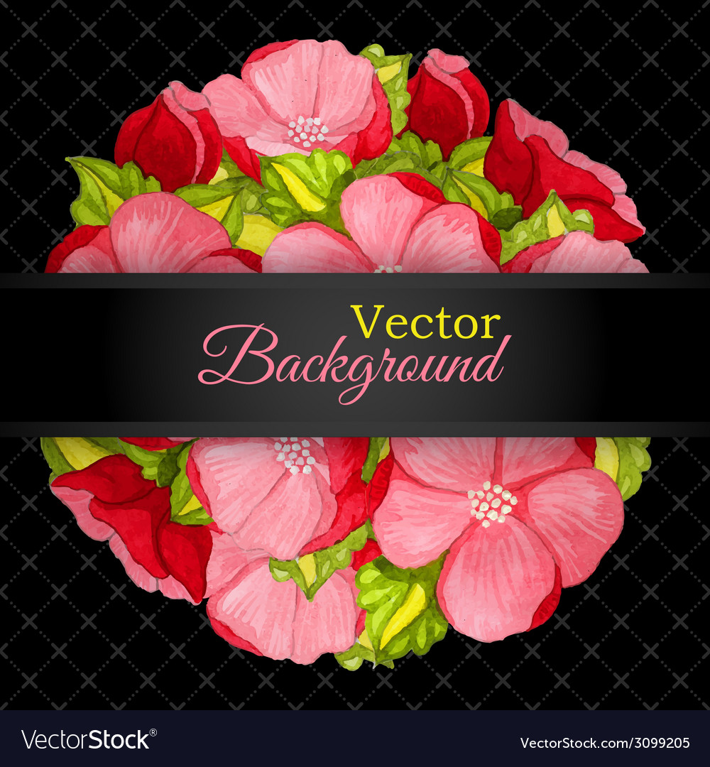 Floral invitation card with flowers peony template vector   Price: 1 Credit (USD $1)