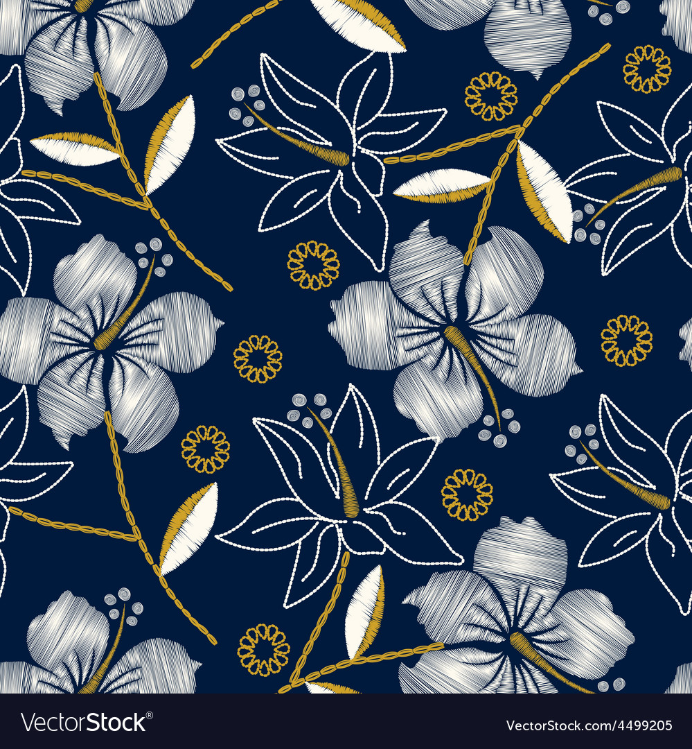 Hibiscus tropical embroidery navy seamless pattern vector | Price: 1 Credit (USD $1)