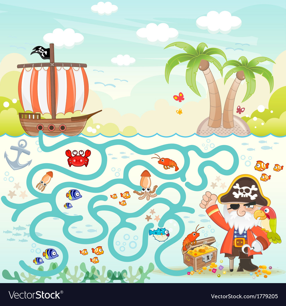Maze game pirate try to find the treasure vector | Price: 3 Credit (USD $3)