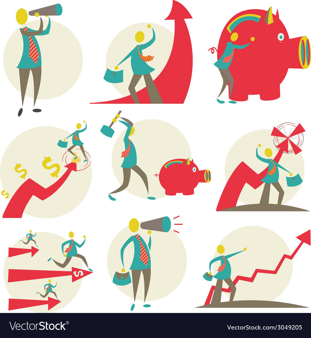 Set of character businessman vector | Price: 1 Credit (USD $1)