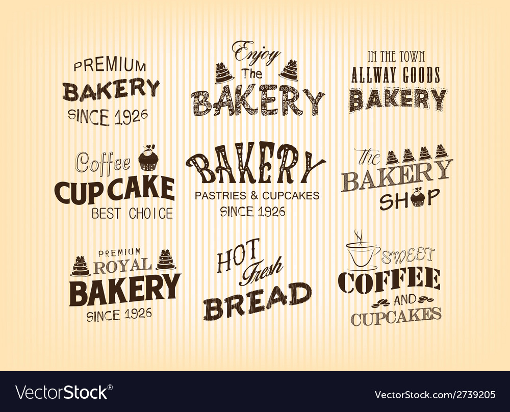 Set of vintage retro bakery labels vector | Price: 1 Credit (USD $1)