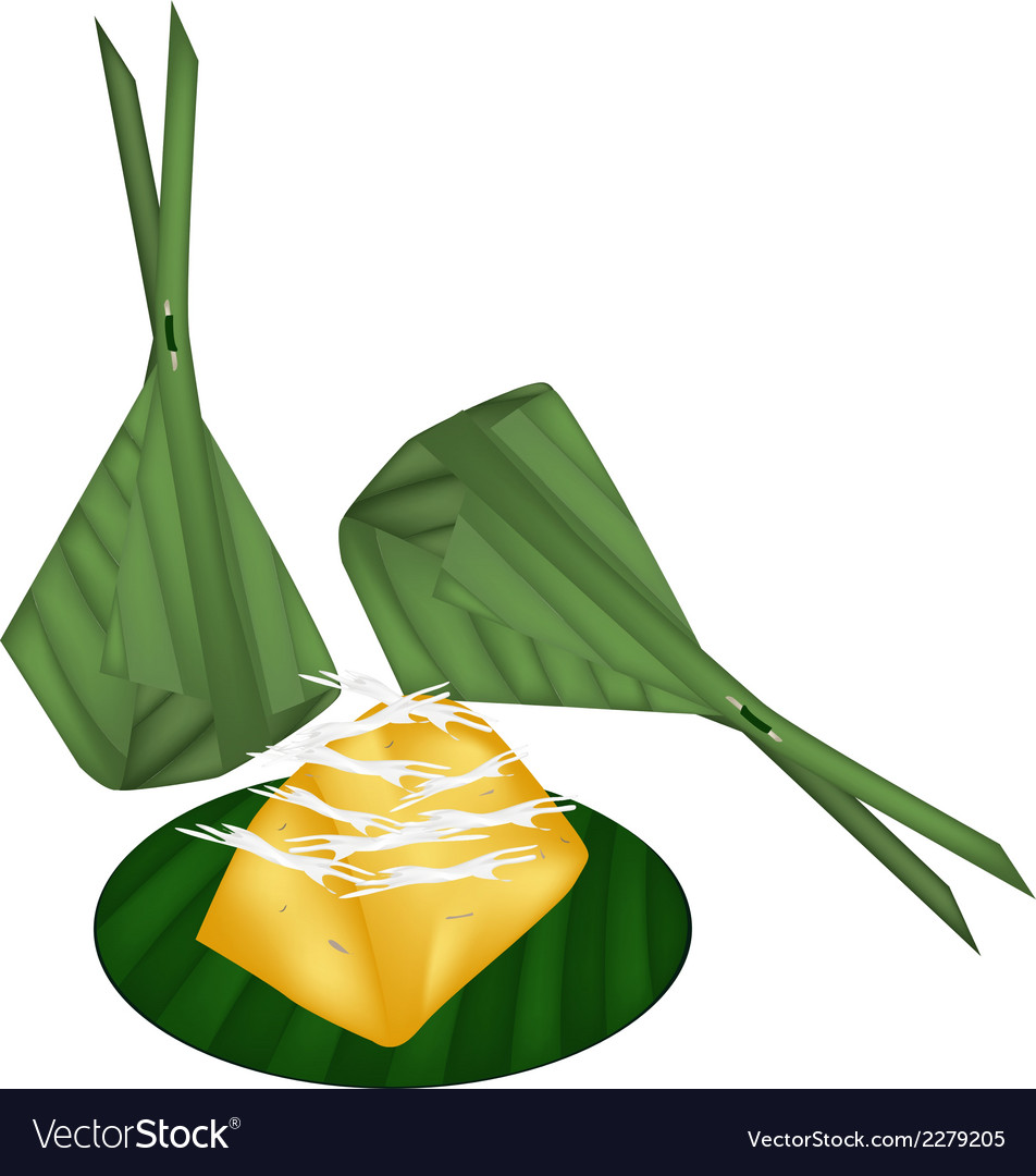 Toddy palm cake wrap with banana leaves vector | Price: 1 Credit (USD $1)