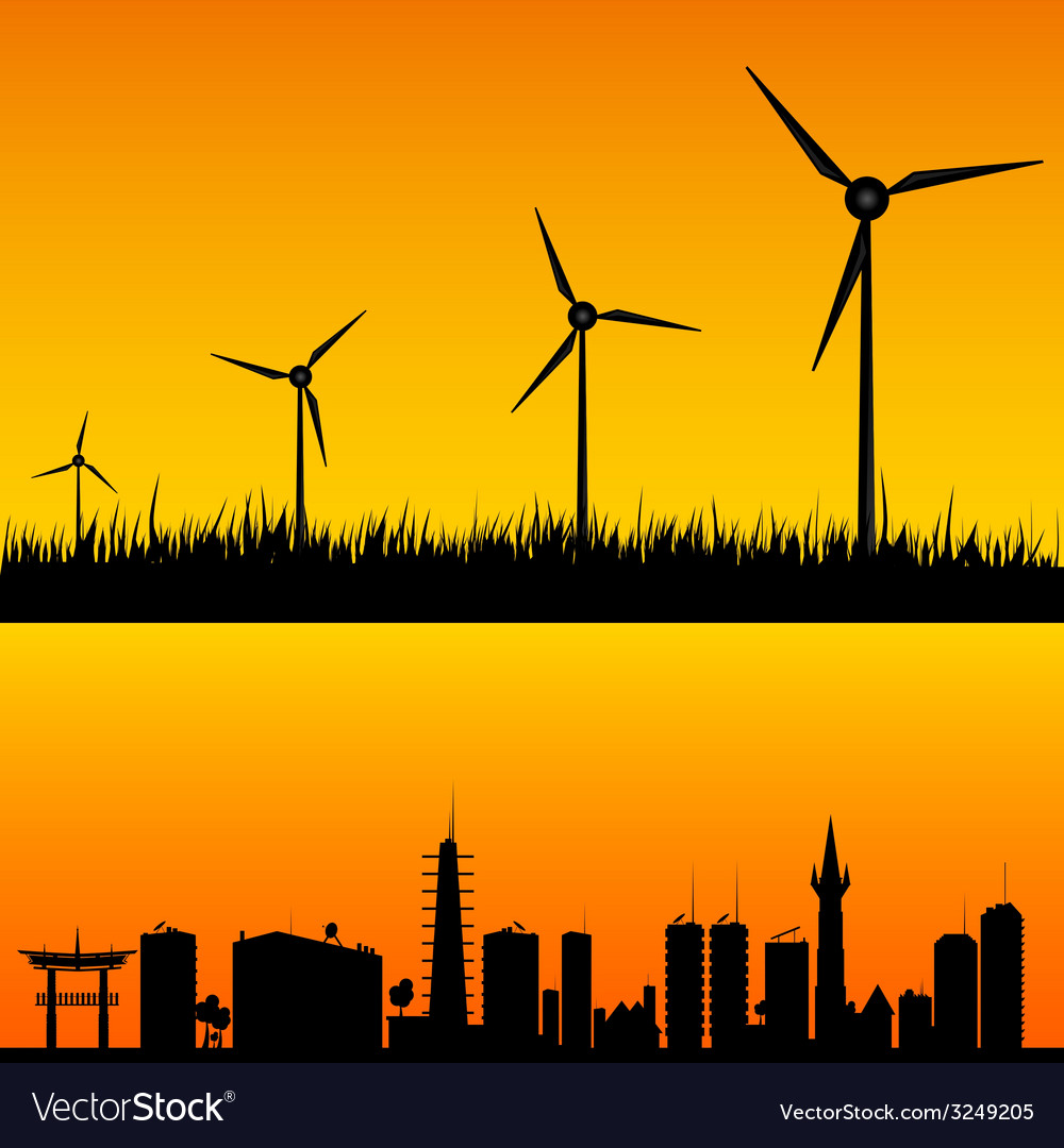 Windmills to generate electricity vector | Price: 1 Credit (USD $1)