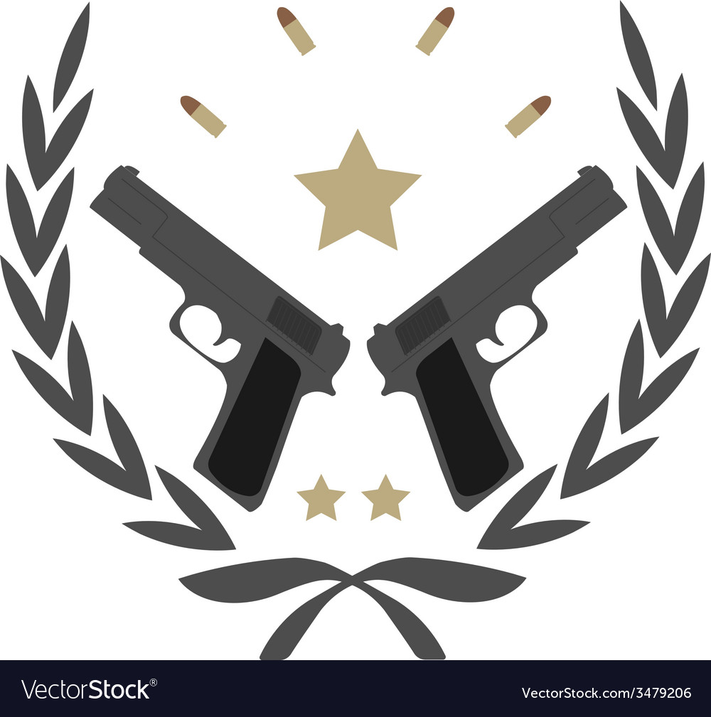 2 pistols in laurel wreath emblem vector | Price: 1 Credit (USD $1)