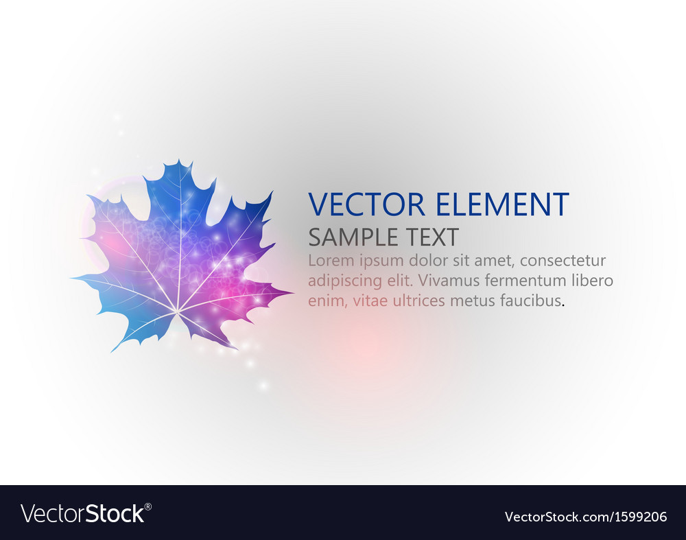 Background autumn single leaf text blue vector | Price: 1 Credit (USD $1)