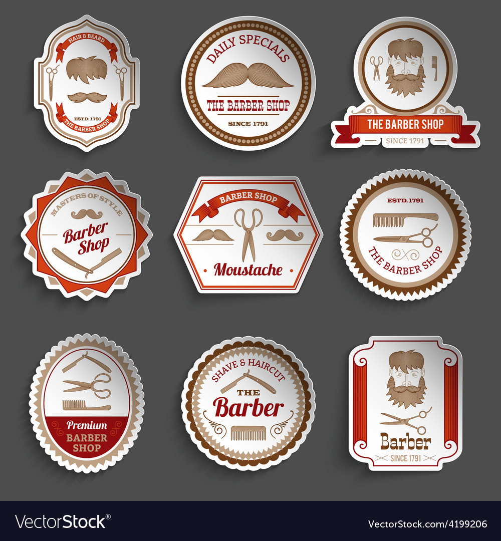 Barber shop stickers vector | Price: 1 Credit (USD $1)