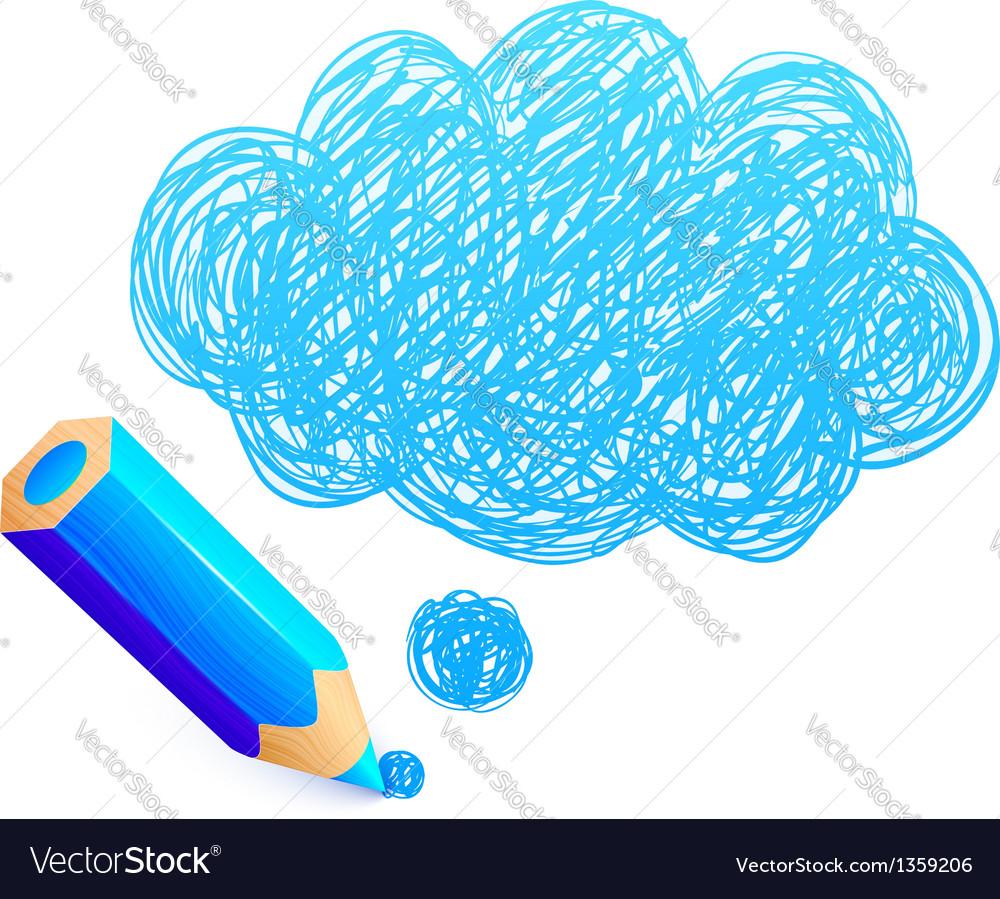 Blue cartoon pencil with doodle cloud vector | Price: 1 Credit (USD $1)