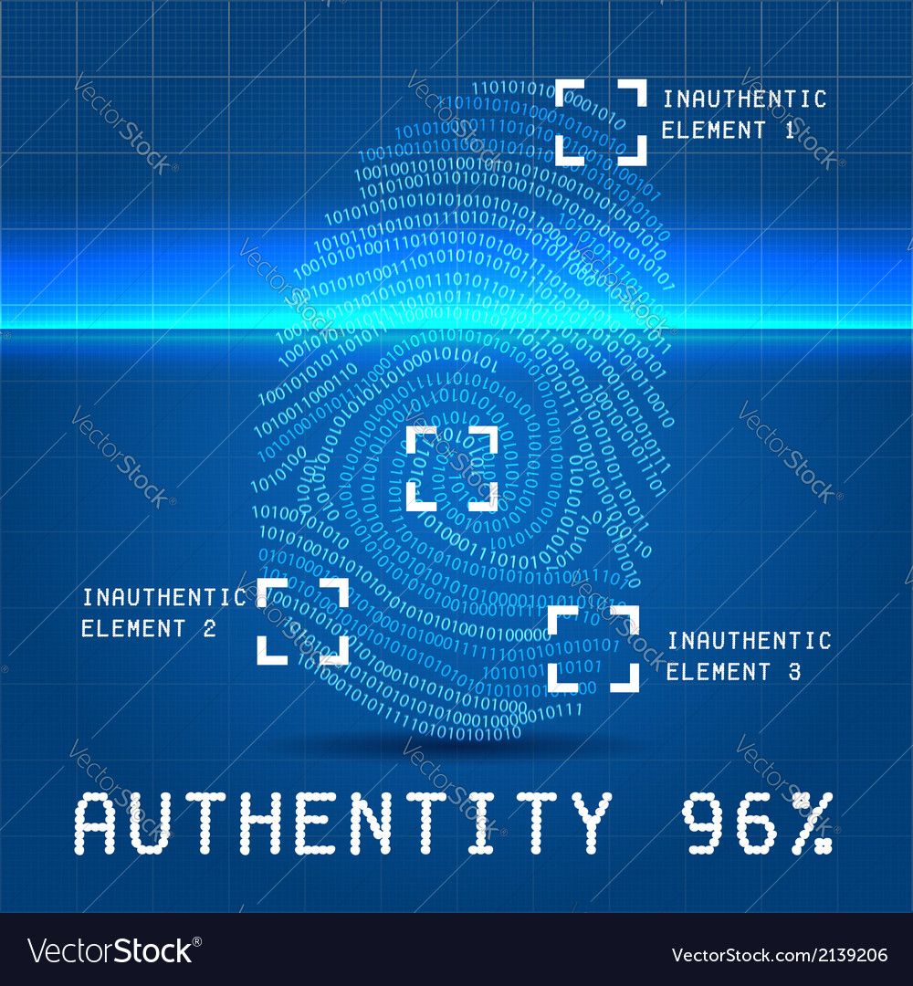 Digital authentity finger scan vector | Price: 1 Credit (USD $1)