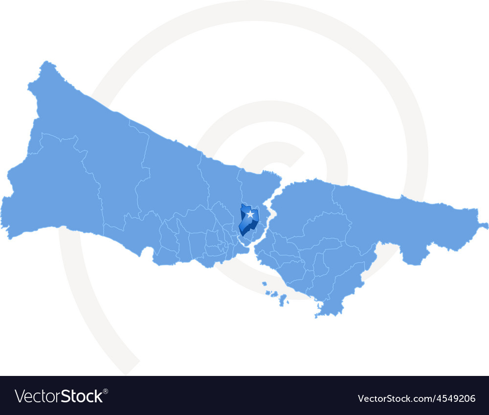 Istanbul map with administrative districts where vector | Price: 1 Credit (USD $1)
