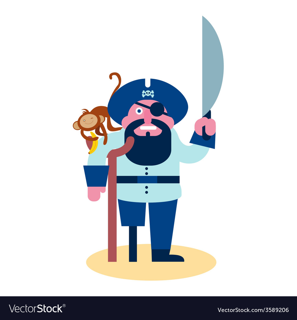 Pirate with monkey vector | Price: 1 Credit (USD $1)