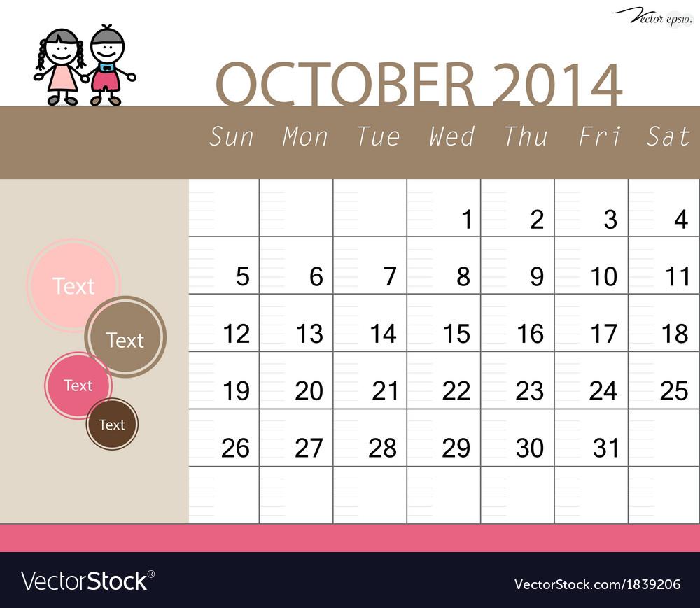 Simple 2014 calendar october vector | Price: 1 Credit (USD $1)