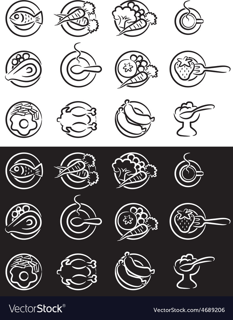 Simple kitchen icons vector | Price: 1 Credit (USD $1)