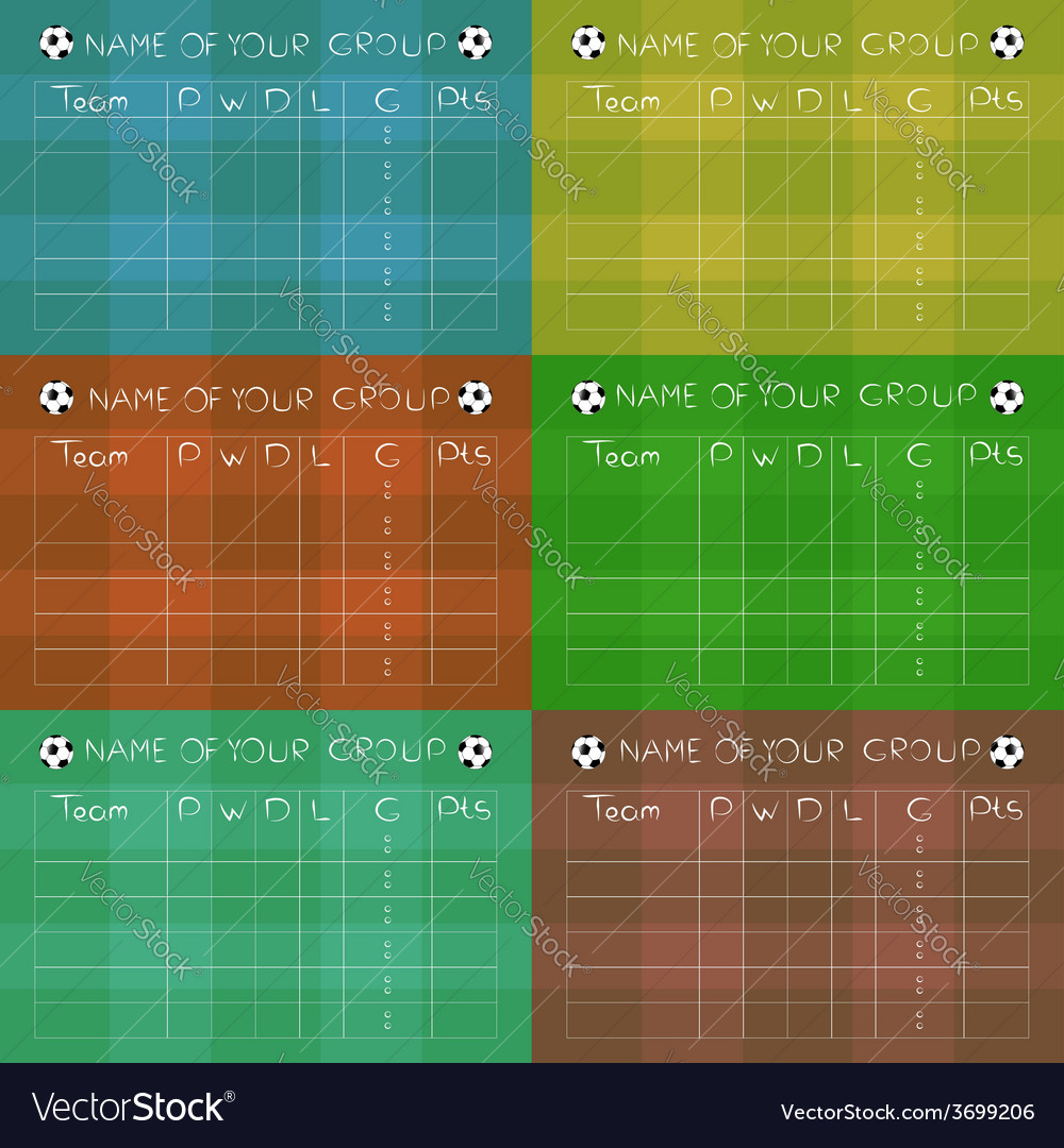Soccer championship group stages on colored fields vector | Price: 1 Credit (USD $1)
