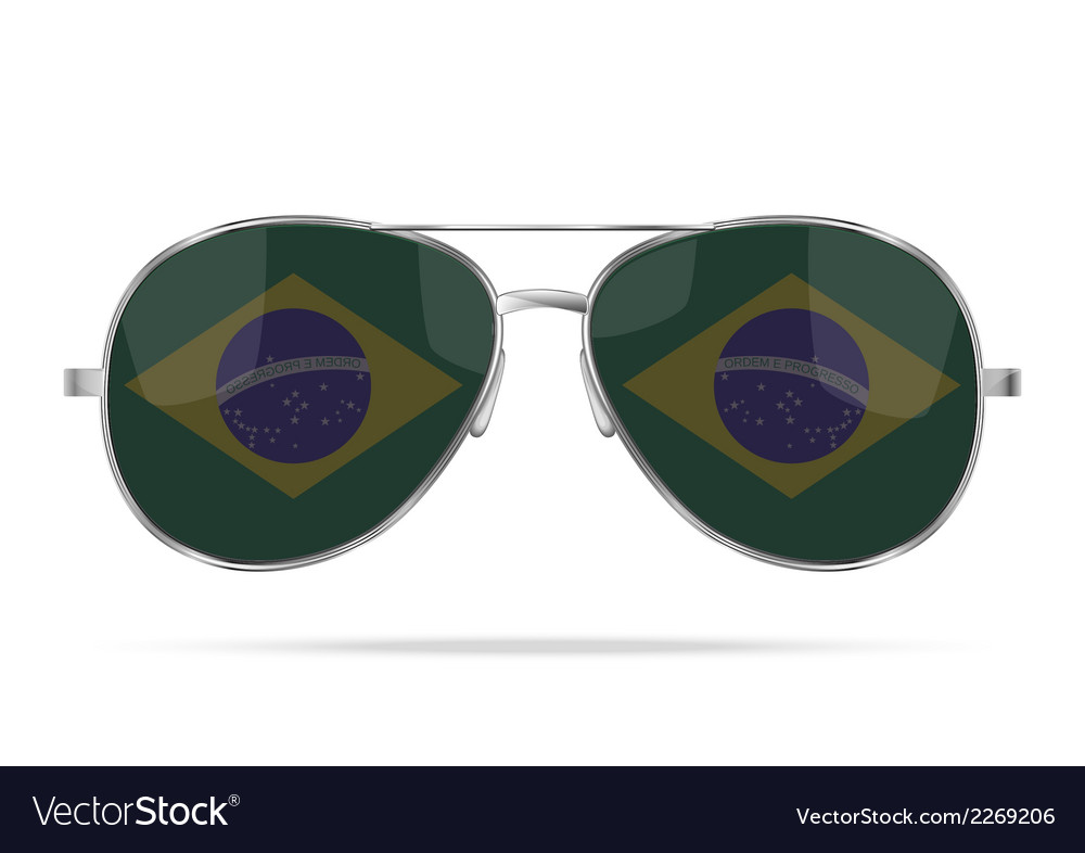 Sunglasses with brazil flag inside vector | Price: 1 Credit (USD $1)