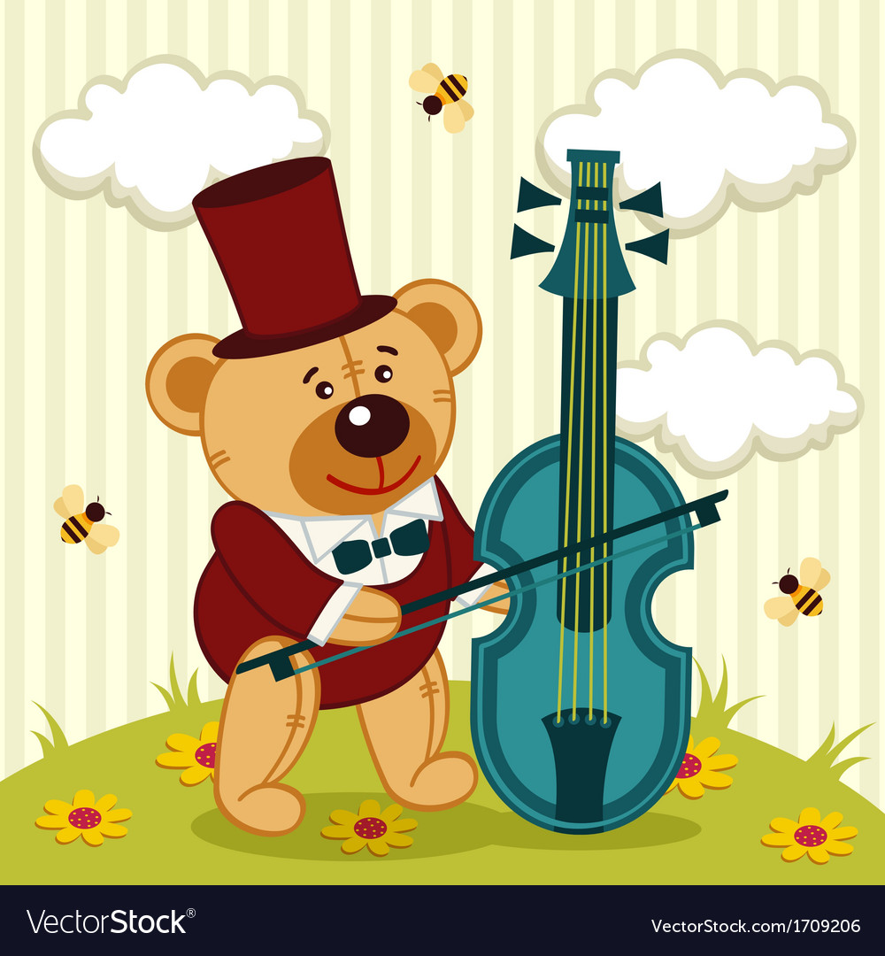 Teddy bear playing on cello vector | Price: 1 Credit (USD $1)