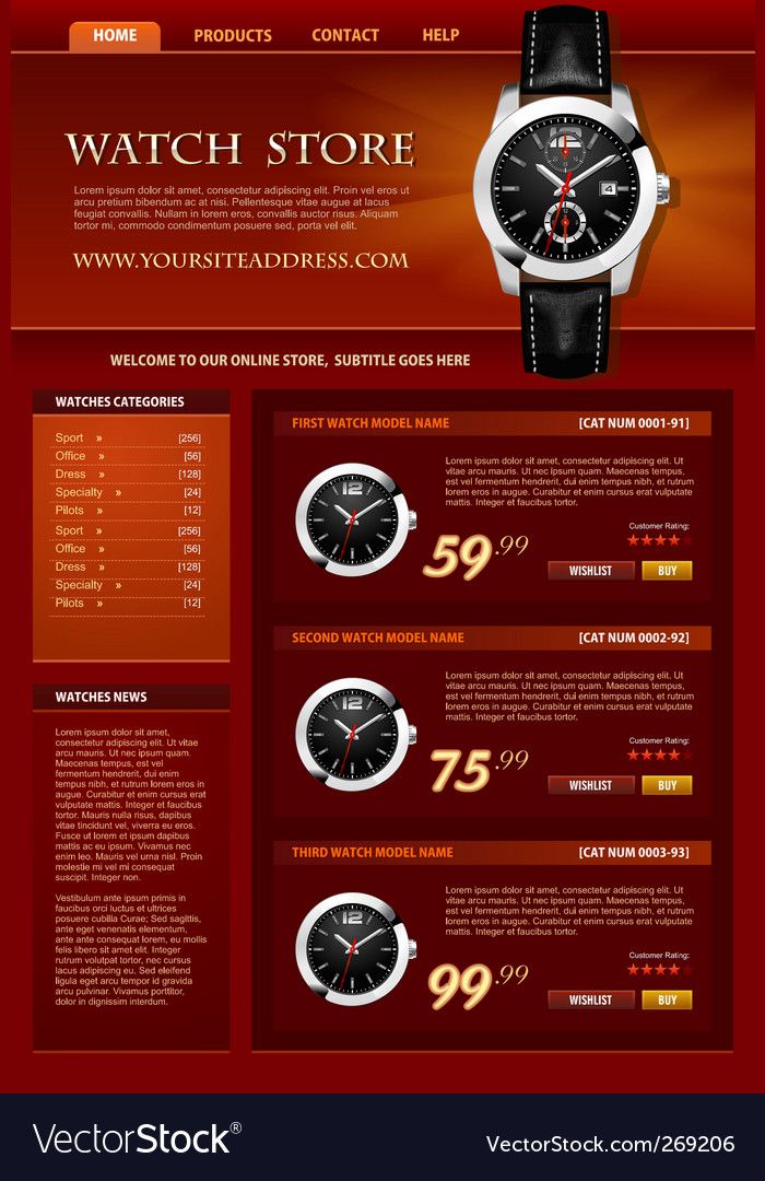 Watch store web site vector | Price: 3 Credit (USD $3)