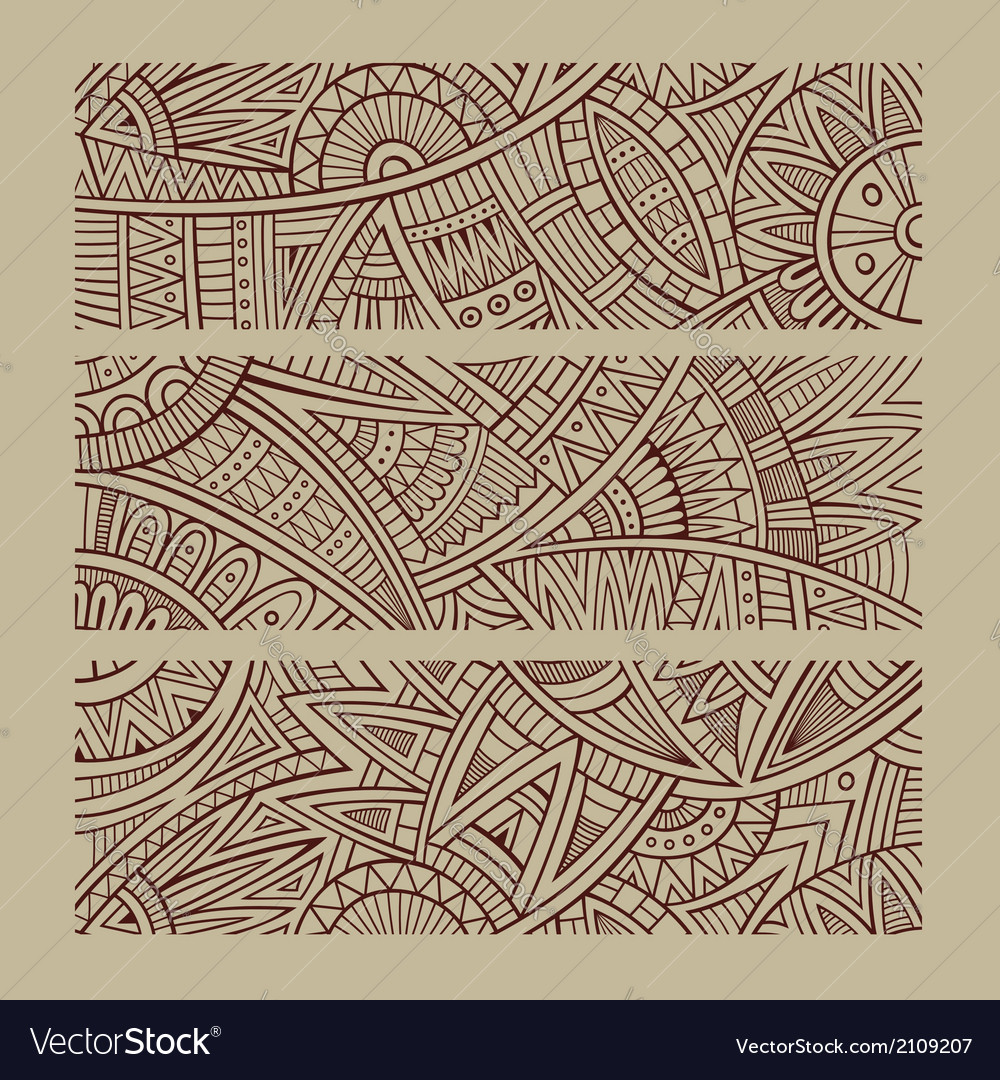 Abstract hand drawn ethnic banners vector | Price: 1 Credit (USD $1)