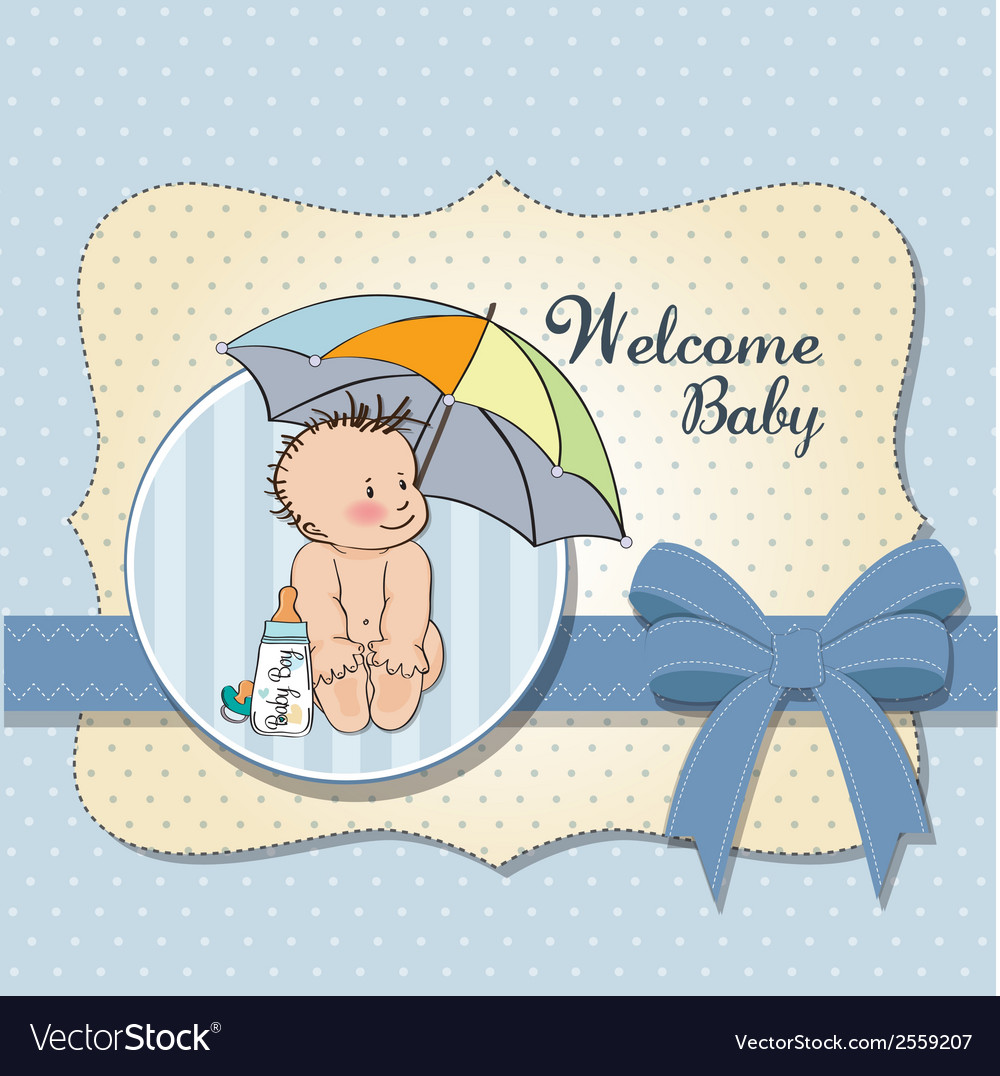 Baby boy shower card with funny baby under his vector   Price: 1 Credit (USD $1)