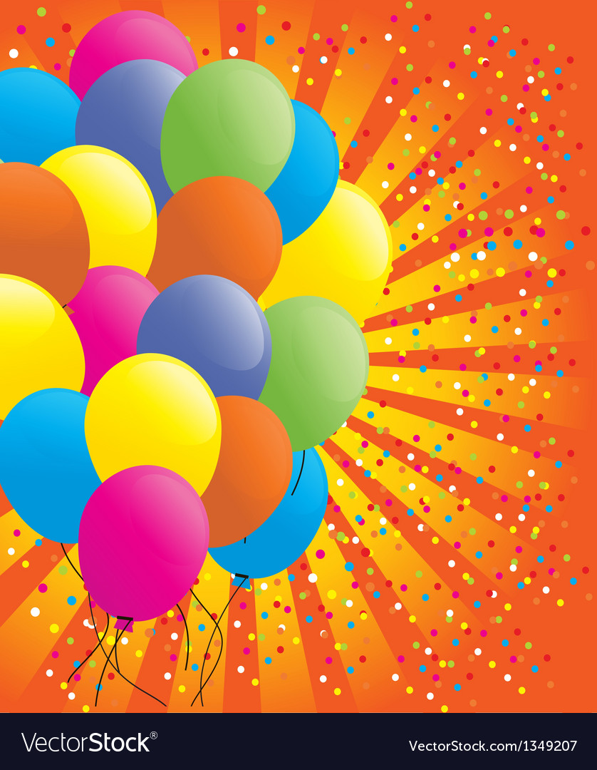 Background with multicolored balloons vector | Price: 1 Credit (USD $1)