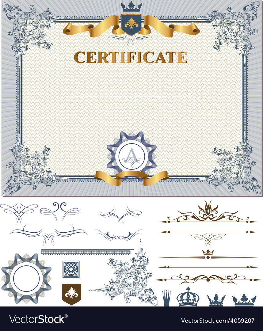 Certificate with design elements vector | Price: 3 Credit (USD $3)