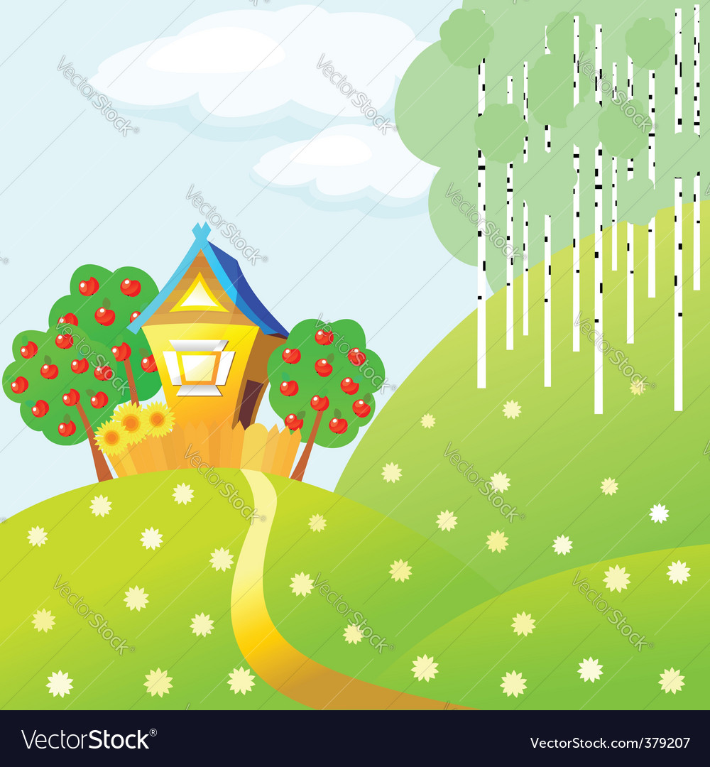 Country cottage landscape vector | Price: 1 Credit (USD $1)