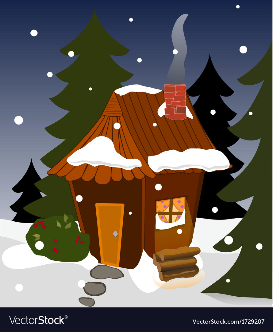 Cozy winter cabin vector | Price: 1 Credit (USD $1)