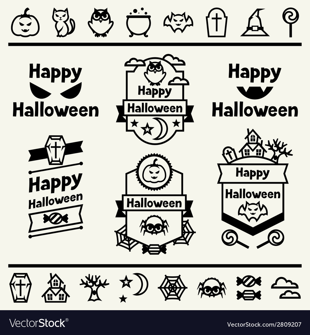 Happy halloween set of badges and icons vector | Price: 1 Credit (USD $1)