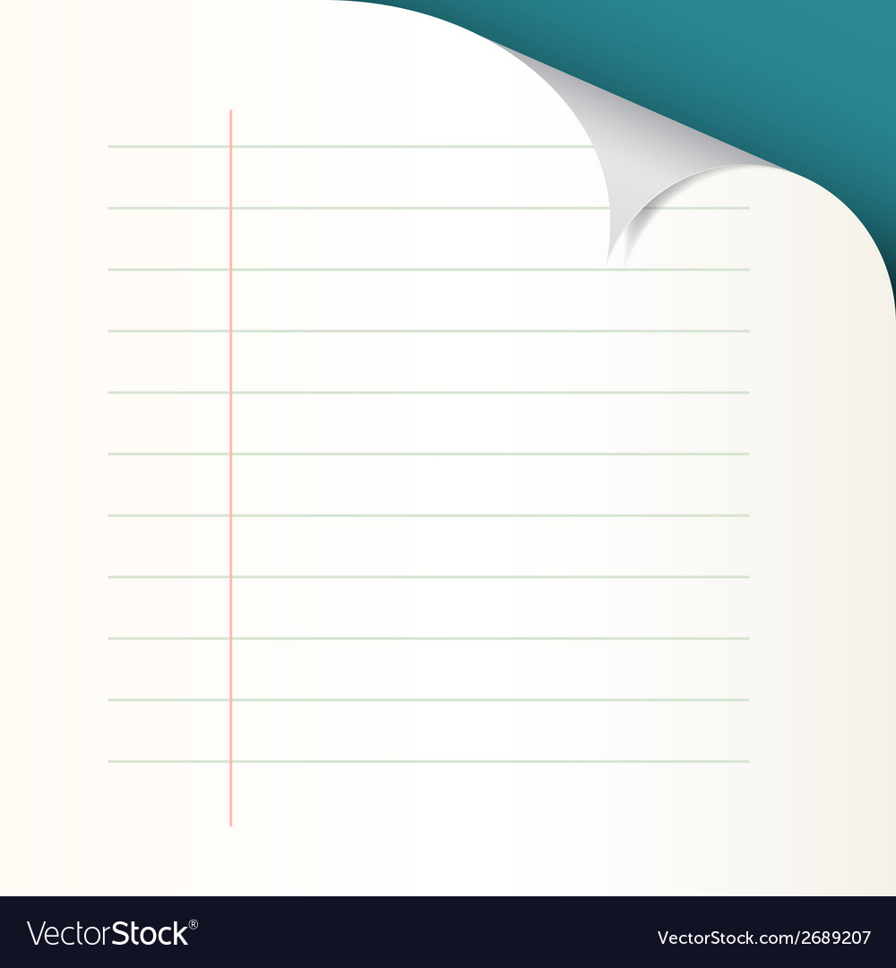 Lined paper with bent corner vector | Price: 1 Credit (USD $1)
