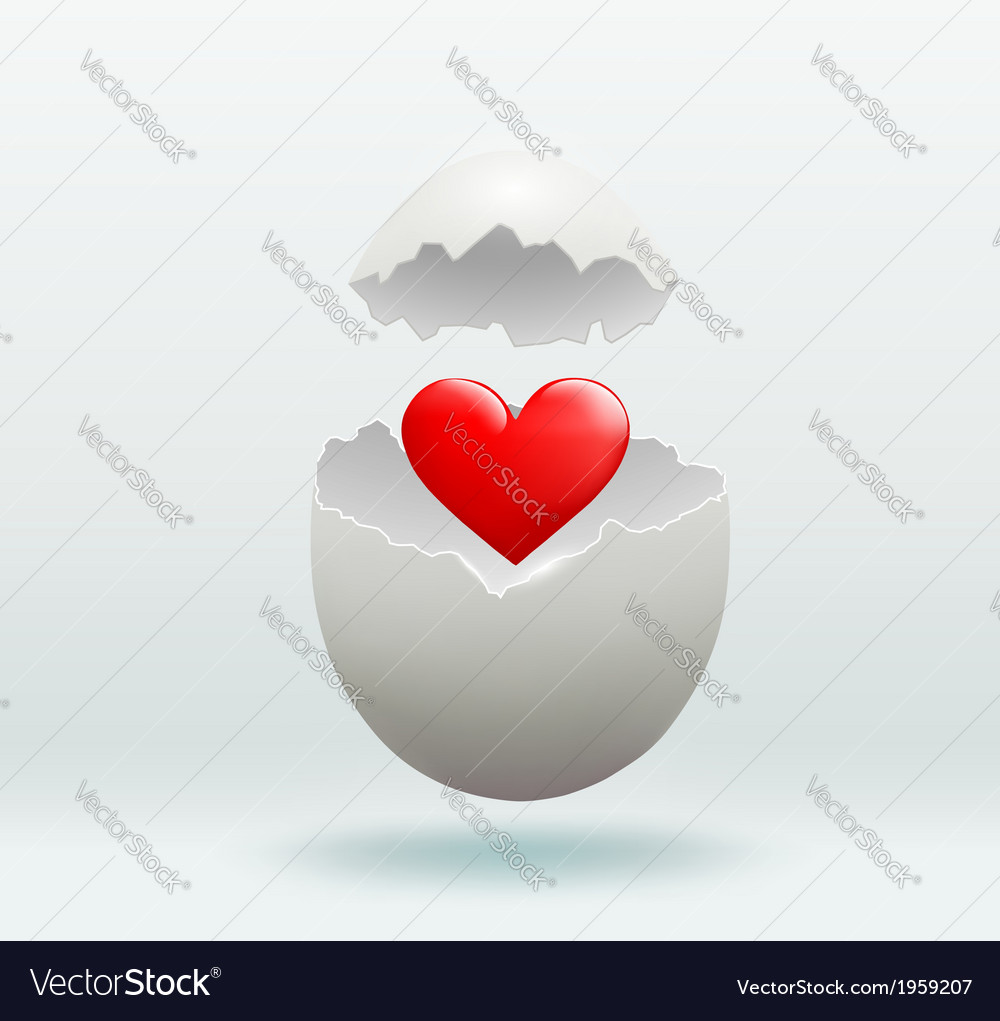 Red heart in the broken egg vector | Price: 1 Credit (USD $1)
