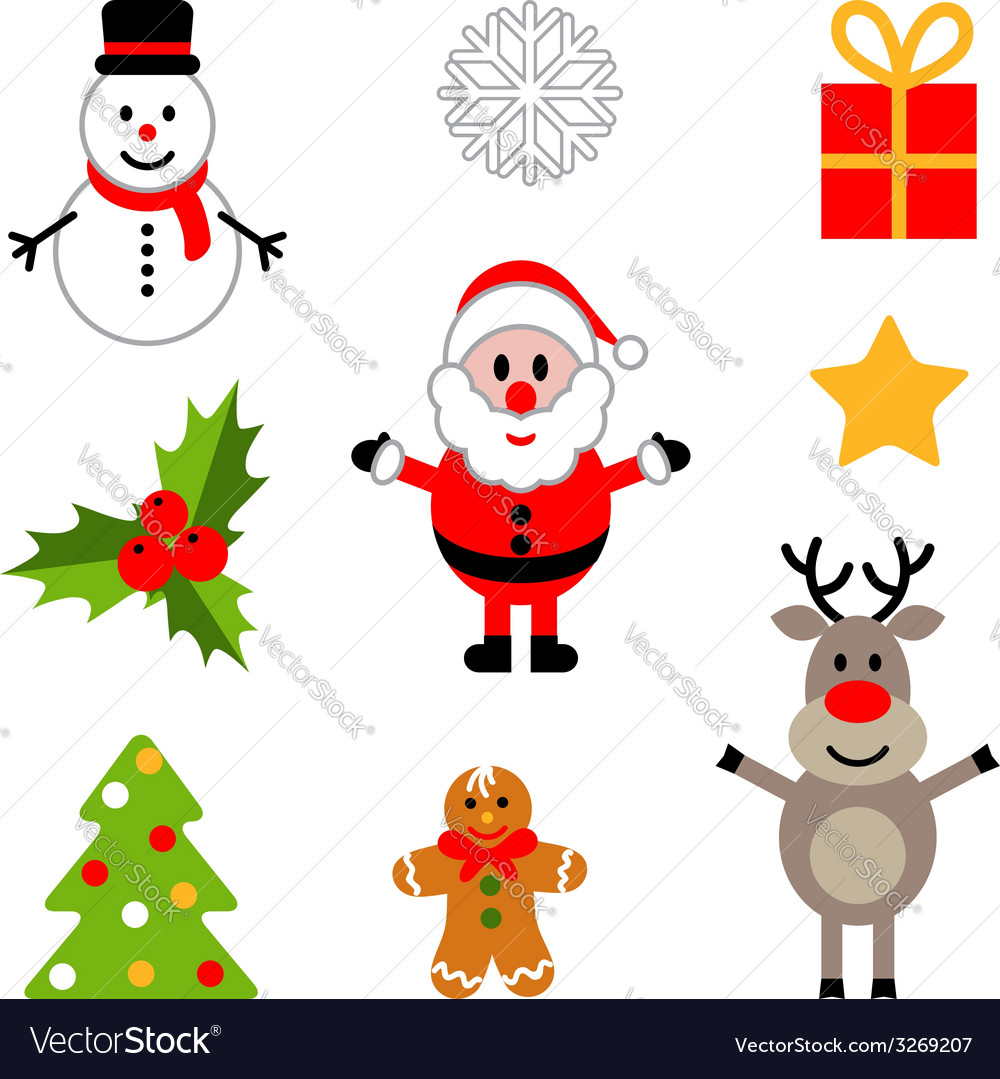 Set of colorful christmas decorations vector | Price: 1 Credit (USD $1)