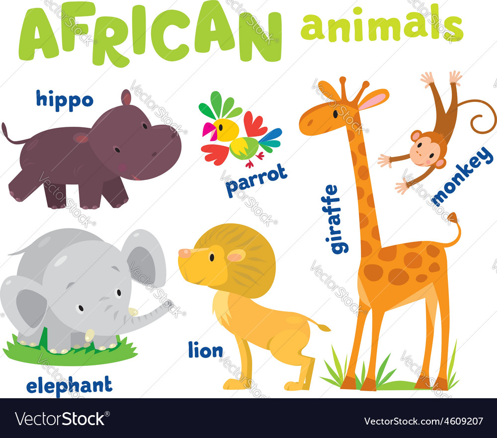 Set of funny african animals vector | Price: 1 Credit (USD $1)