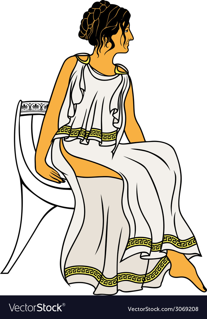 Ancient greek woman sitting on a chair colored vector | Price: 1 Credit (USD $1)
