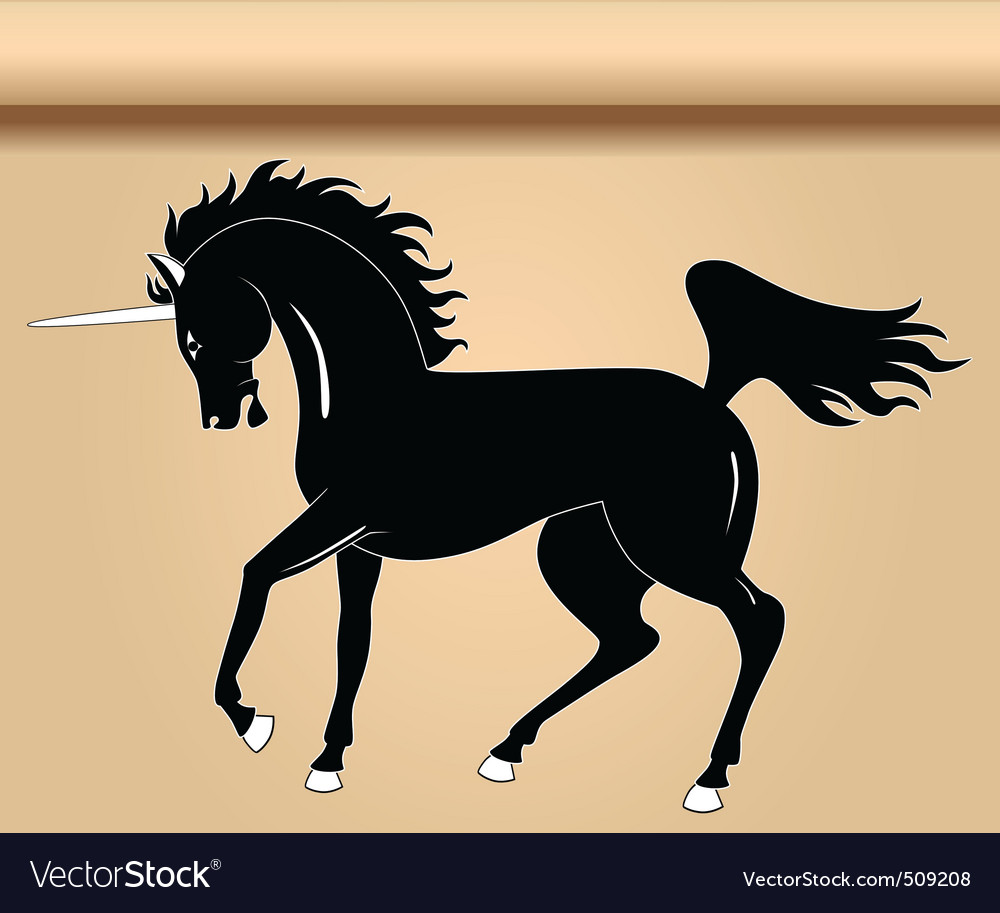 Black heraldic unicorn vector | Price: 1 Credit (USD $1)