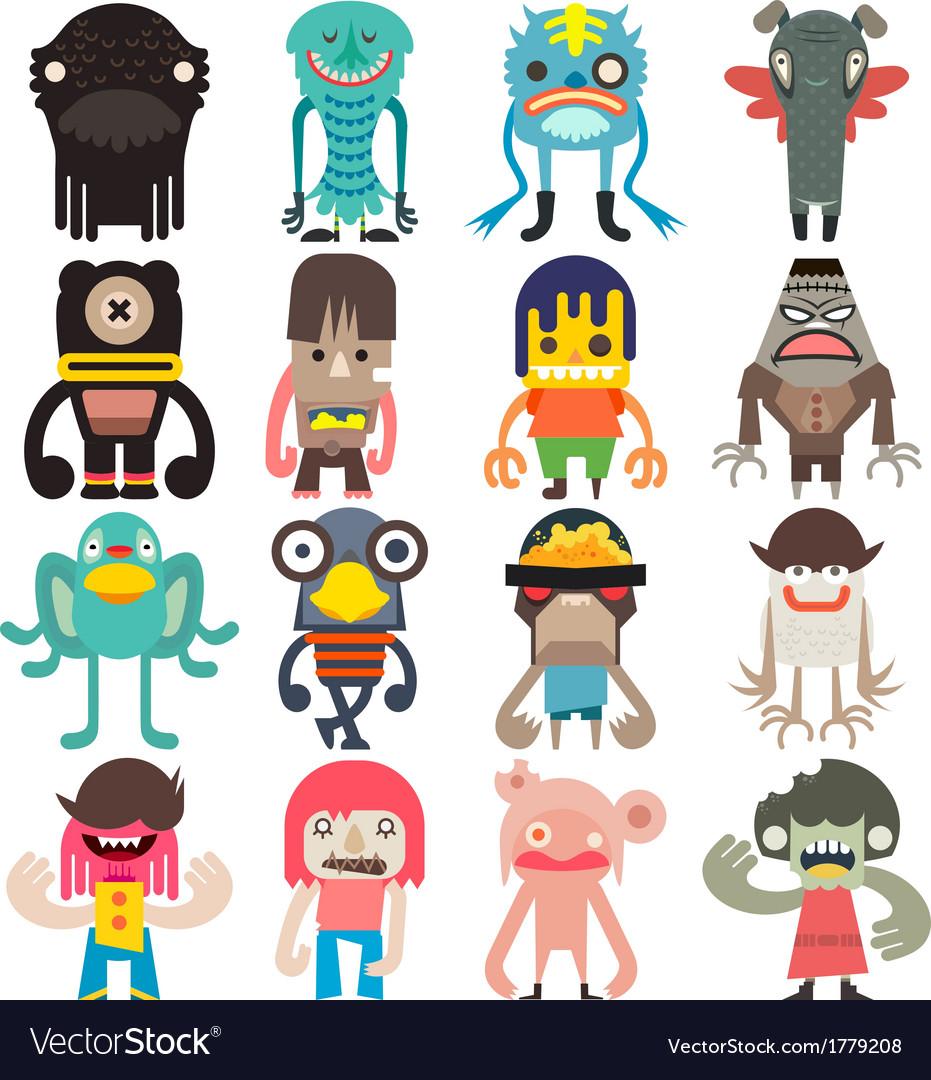 Cartoon cute monsters vector | Price: 1 Credit (USD $1)