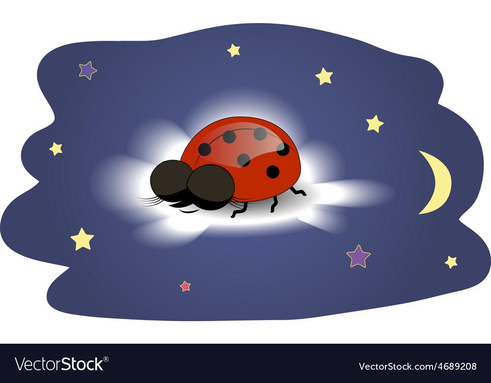 Ladybug sleeping on a cloud vector | Price: 1 Credit (USD $1)