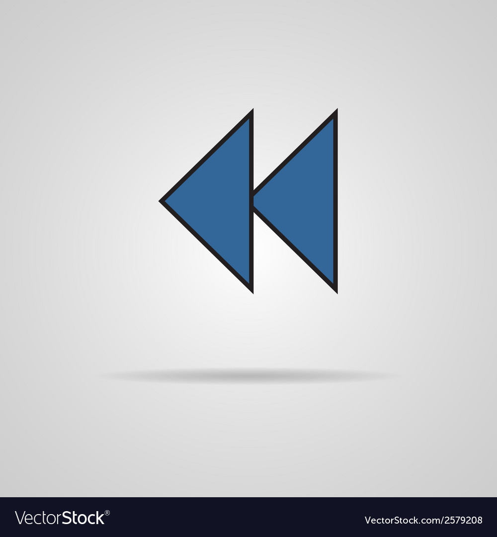 Reverse or rewind icon with shadow media player vector | Price: 1 Credit (USD $1)