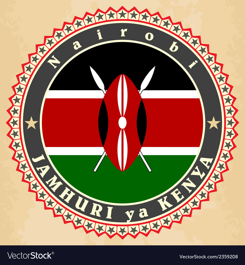 Vintage label cards of kenya flag vector | Price: 1 Credit (USD $1)