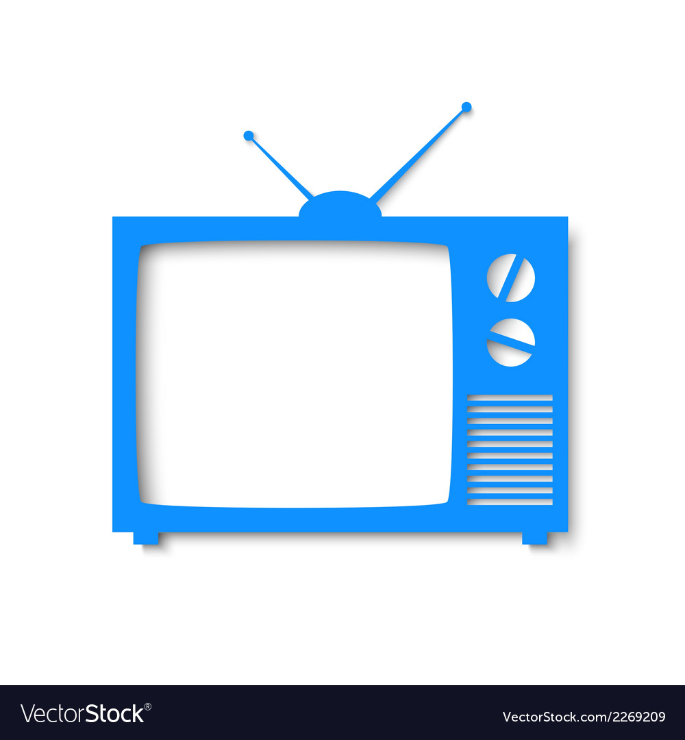 Blue paper banner in form of tv vector   Price: 1 Credit (USD $1)