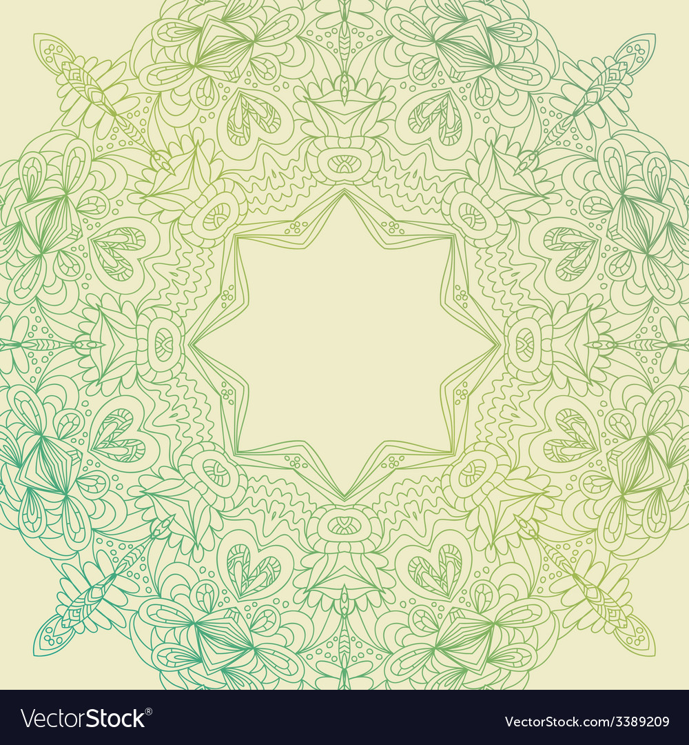 Circle lace hand-drawn ornament card ornamental vector | Price: 1 Credit (USD $1)
